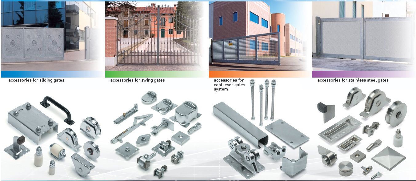 A small selection of the FAC srl range of gate hardware.