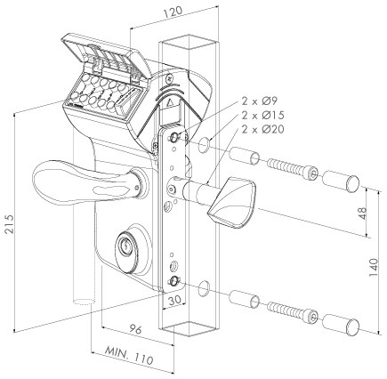 mechanical-code-lock-drawing
